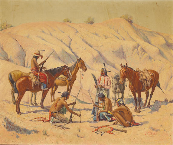 (n/a) Clarence Arthur Ellsworth (American, 1885-1961) Indians preparing for an attack, 1936 30 x 36in