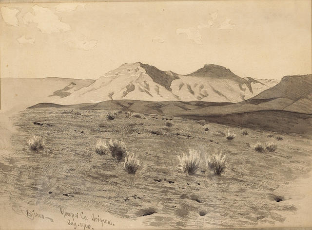 (n/a) Maynard Dixon (1875-1946) Desert peaks, Yavapai County, Arizona, 1900 7 3/4 x 11in