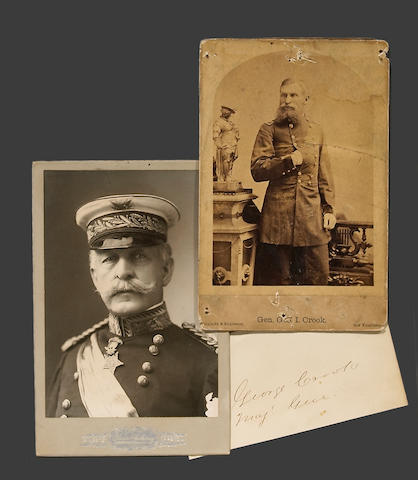 A lot of two cabinet cards: General George Crook and General Nelson A. Miles