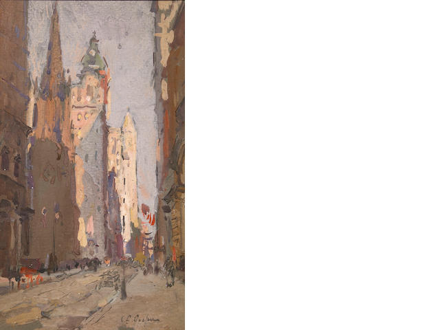 Colin Campbell Cooper (1856-1937) Wall Street 12 x 7in