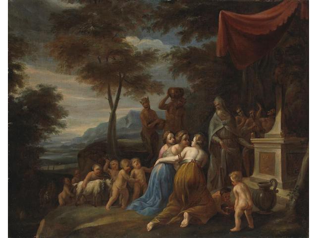 French School, 18th Century Figures at an altar to Bacchus 26 3/4 x 34 1/4in unframed