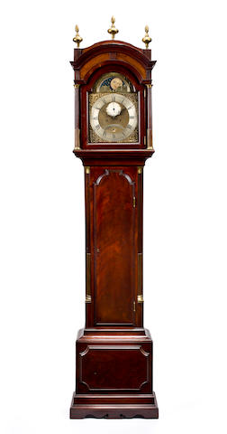 A George III mahogany longcase clock with phases of the moonSigned Jno. Barber, Stratford, late 18th century