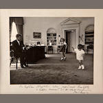 Kennedy kids dancing in the oval office, inscribed by JFK