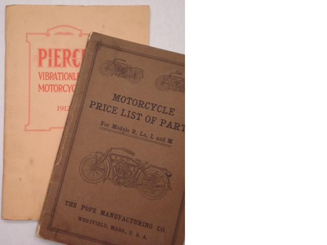 A Pierce 'Vibrationless Motorcycles' 1912 range brochure,