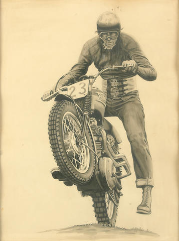 Bud Ekins on his Triumph,