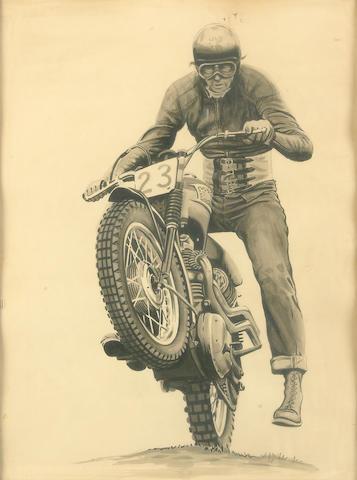 Bud Ekins on his Triumph,