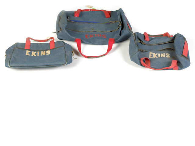 A pair of Bud Ekins' blue denim holdalls,