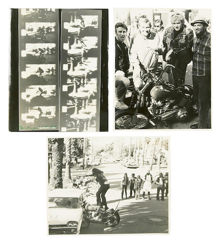 Three photographs of Bud Ekins on set,