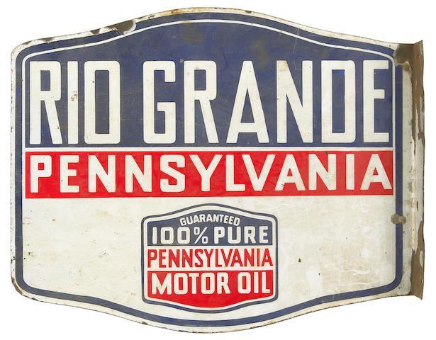 A Rio Grande Pennsylvania Motor Oil advertising sign,
