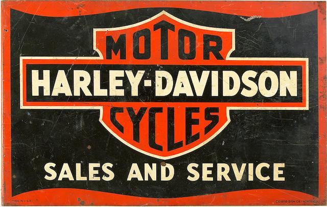 A Harley-Davidson Sales & Service sign,