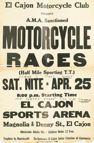 An assortment of racing posters,