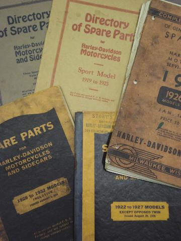 A selection of Harley Davidson Spare Parts brochures,
