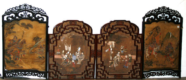 A group of carved wood architectural fragments