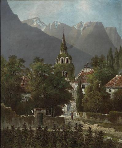 (n/a) Edwin Deakin (American, 1838-1923) Alpine castle, 1906 22 3/4 x 18 3/4in