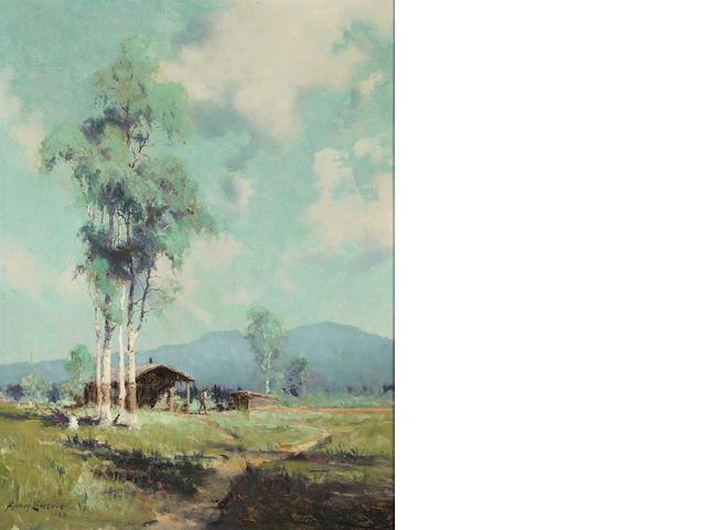 (n/a) Sydney Laurence (American, 1865-1940) Alaskan farmland, 1920 16 x 12in