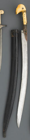 An Ottoman ivory-hilted yataghan
