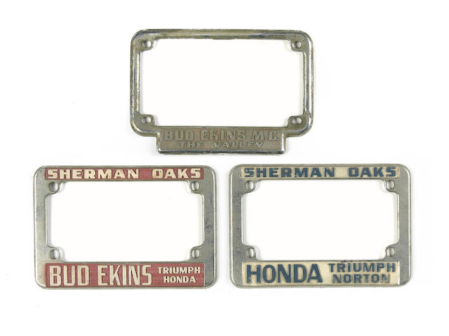 A selection of Bud Ekins' Motorcycles license plate frames,