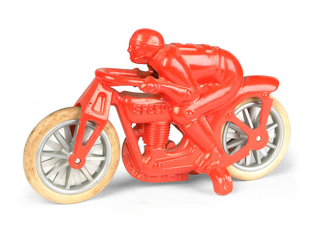 A metal racing motorcycle toy,