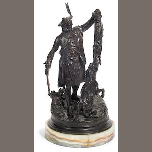 A French patinated bronze figural group: Ecossais montrant un renard a un chien (Scottish huntsman with fox and hound) . after a model by Pierre Jules Mêne. second half 20th century