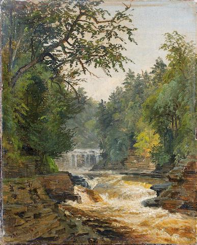 Jasper Francis Cropsey (American, 1823-1900) Waterfalls 11 1/4 x 9in unframed