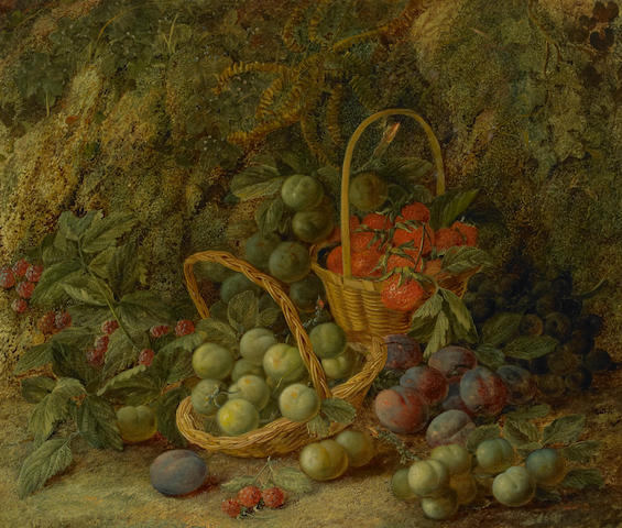 Vincent Clare (British, 1855-1930) A still life with strawberries in a basket on a mossy bank; also another still life by the same hand (a pair) both 20 x 24in (50.8 x 61cm)