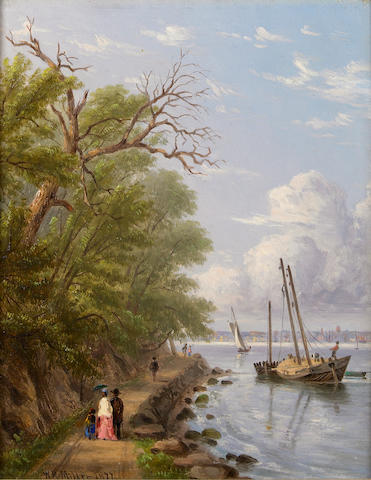 (n/a) William Rickarby Miller (American, 1818-1893) By the waterside, Hoboken, New Jersey; The Palisades of the Hudson (Two) each 9 1/2 x 7 1/2in