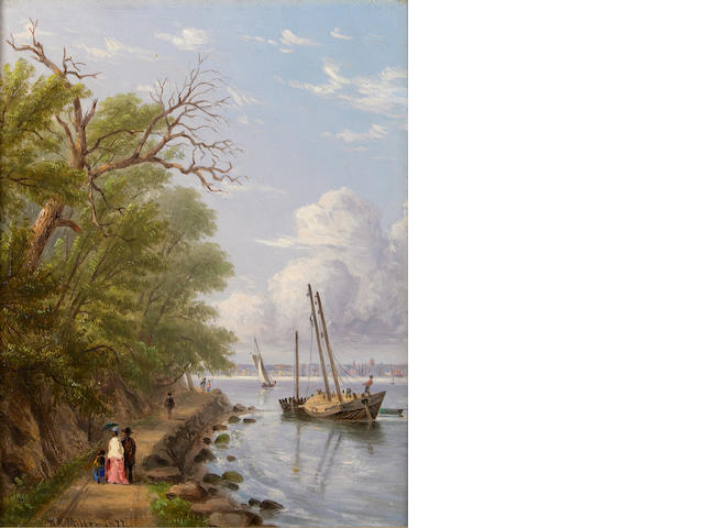 William Rickarby Miller (American, 1818-1893) By the waterside, Hoboken, New Jersey; The Palisades of the Hudson (Two) each 9 1/2 x 7 1/2in