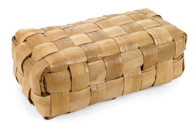 Woven Pandanus Leaf Pillow, lauhala uluna, Hawaiian Islands