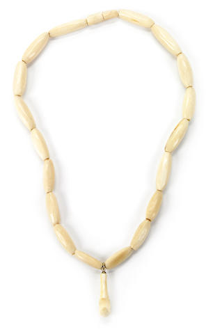 Ivory Palaoa Beaded Necklace, Hawaiian Islands