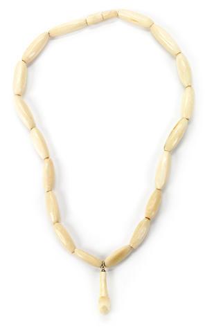Ivory Palaoa Beaded Necklace, Hawaiian Islands