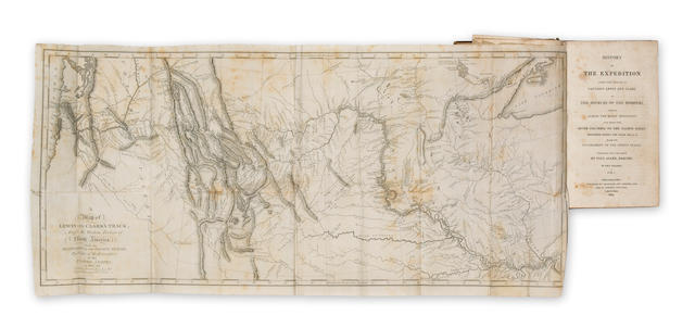 LEWIS, MERIWETHER, AND WILLIAM CLARK. History of the Expedition under the Command of Captains Lewis and Clark to the Sources of the Missouri, thence across the Rocky Mountains and down the River Columbia to the Pacific Ocean. Performed during the Years 1804-5-6. By order of the Government of the United States. Philadelphia: [by James Maxwell at New York for] Bradford and Inskeep. New York: Abraham H. Inskeep, 1814.