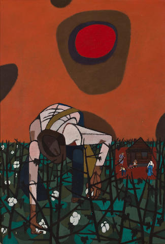 (n/a) Robert Gwathmey (American, 1903-1988) Man picking cotton 16 x 11in