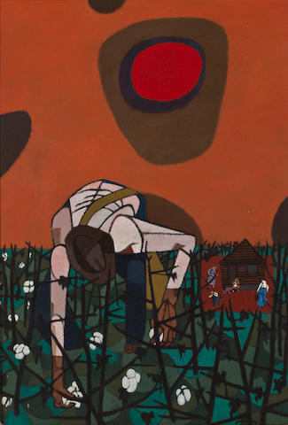 Robert Gwathmey (American, 1903-1988) Man picking cotton 16 x 11in