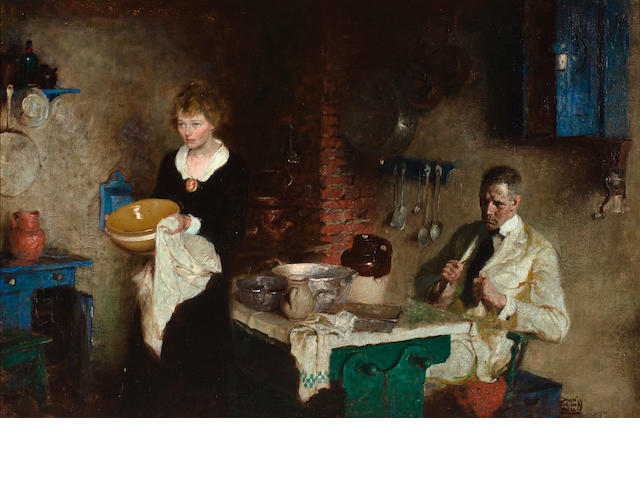 Dean Cornwell (American, 1892-1960) Domestic Interior 26 x 40in
