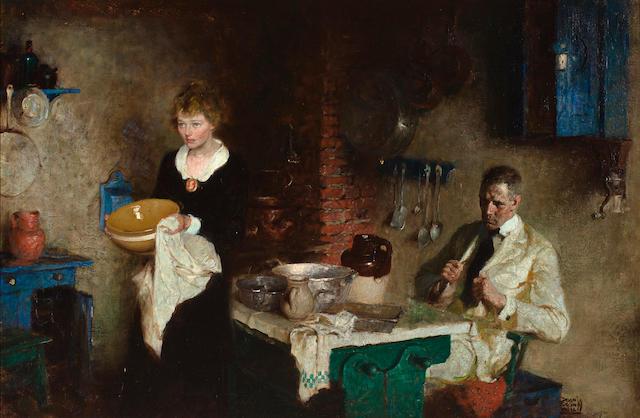 Dean Cornwell (American, 1892-1960) Domestic Interior 26 x 40in
