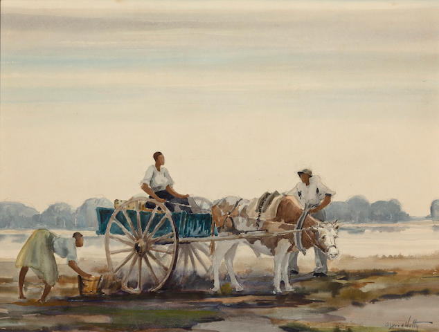 Alfred Heber Hutty (American, 1877-1954)  Low country, figures by a cart  sight 16 1/4 x 21 1/4in