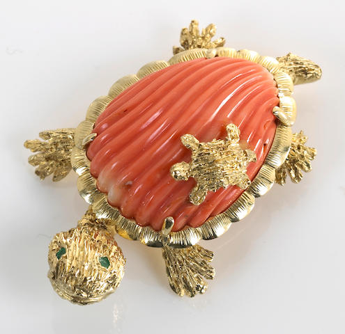 A coral, gem-set and 14k gold turtle brooch