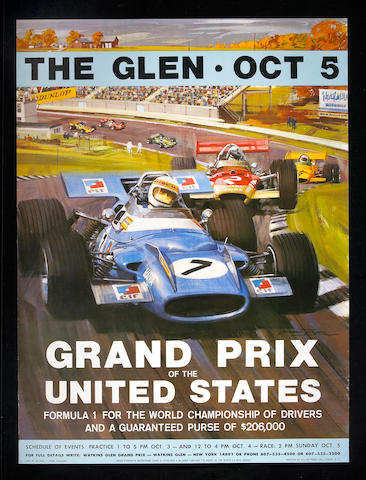 A US Grand Prix race poster, 1970s,