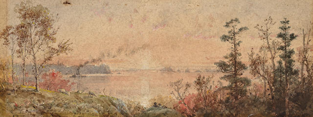Jasper Francis Cropsey (American, 1823-1900) Sunrise over the (Palisades?) image approx. 5 1/4 x 13in, sheet 7 1/2 x 15 1/4in