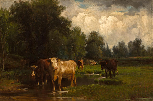Peter Moran (American, 1841-1914) Cows waterin in a stream 20 x 30in