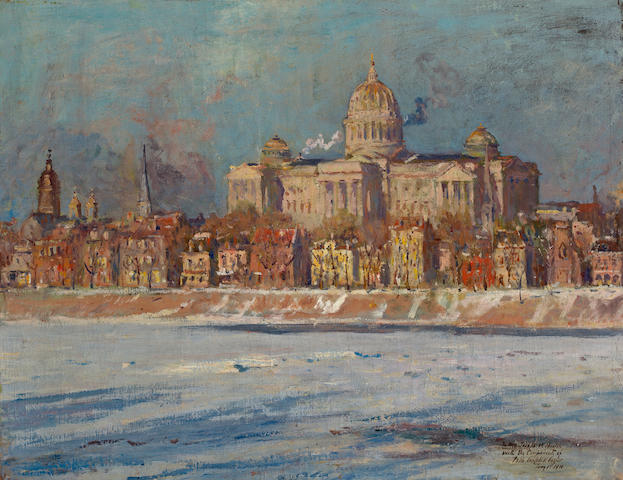 Colin Campbell Cooper (1856-1937) The Pennsylvania State Capitol Building, Harrisburg 20 x 26in