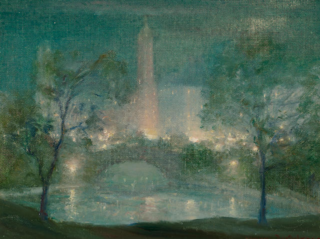 Johann Berthelsen (American, 1883-1972) Central Park by night 9 x 12in