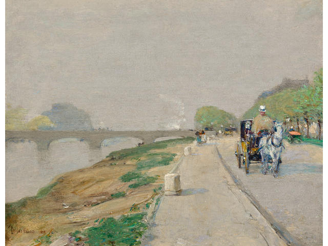 Childe Hassam (American, 1859-1935) Banks of the Seine 9 x 11in