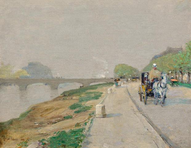 (n/a) Childe Hassam (American, 1859-1935) Banks of the Seine 9 x 11in