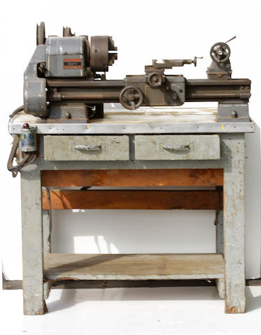 A table top lathe, striped by Von Dutch,