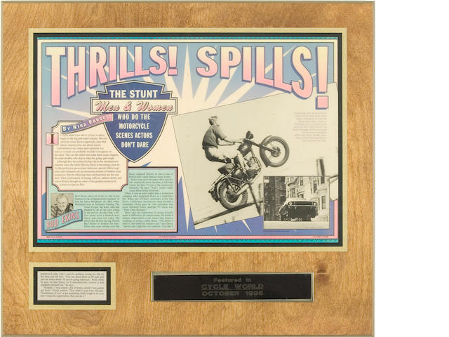 "A selection of Cycle World articles ""Thrills! Spills! concerning Ekins, mounted and laminated on wood,"