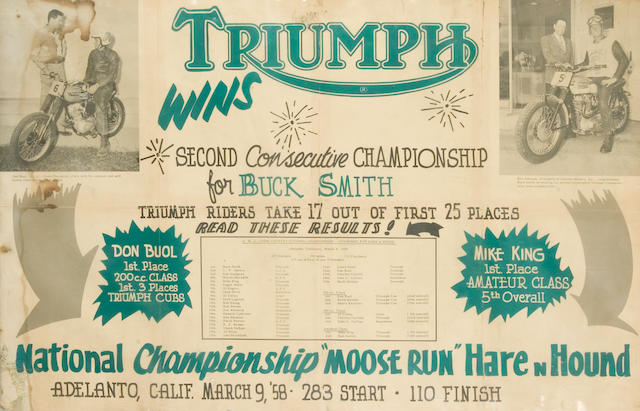A Triumph Race Win promotional poster,