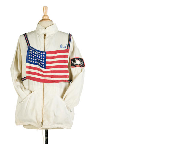Bud Ekin's white racing jacket with US flag bib,
