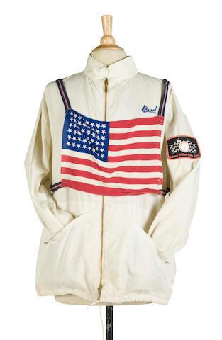 Bud Ekin's white racing jacket with US flag bib,