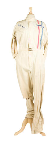 Bud Ekins' white racing overalls with Goodyear stripe,